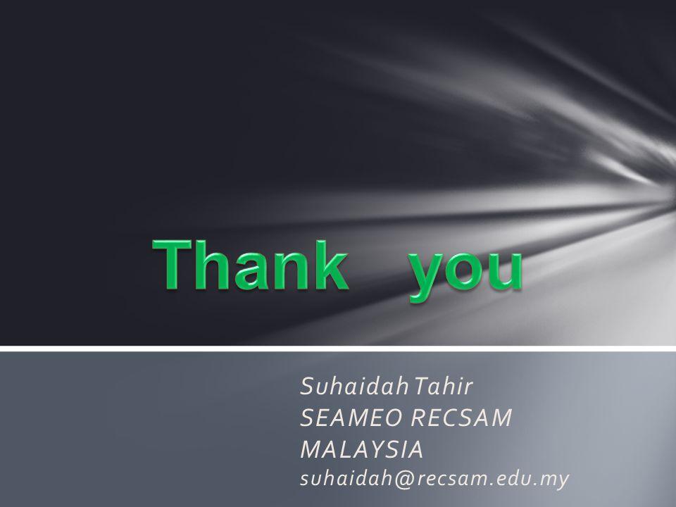 Suhaidah Tahir SEAMEO RECSAM MALAYSIA suhaidah@recsam.edu.my