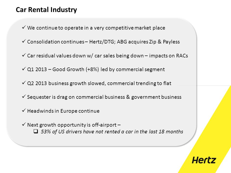 Car Rental Industry We continue to operate in a very competitive market place. Consolidation continues – Hertz/DTG; ABG acquires Zip & Payless.