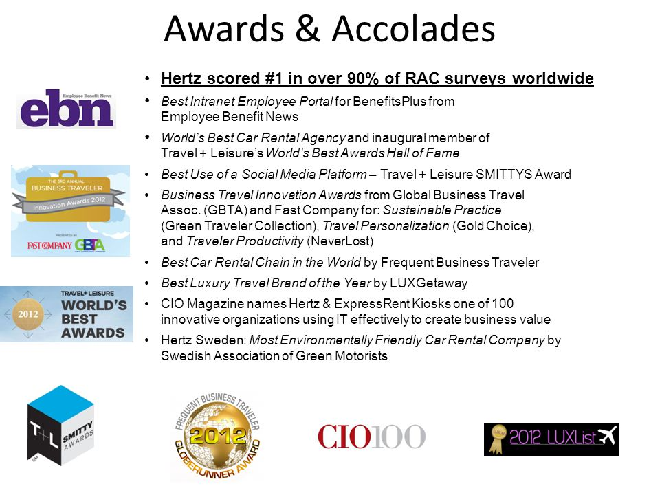Awards & Accolades Hertz scored #1 in over 90% of RAC surveys worldwide. Best Intranet Employee Portal for BenefitsPlus from Employee Benefit News.