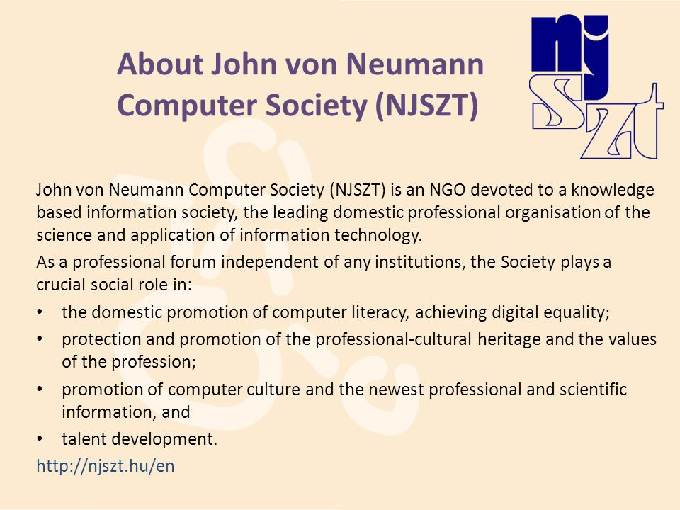 About John von Neumann Computer Society (NJSZT)