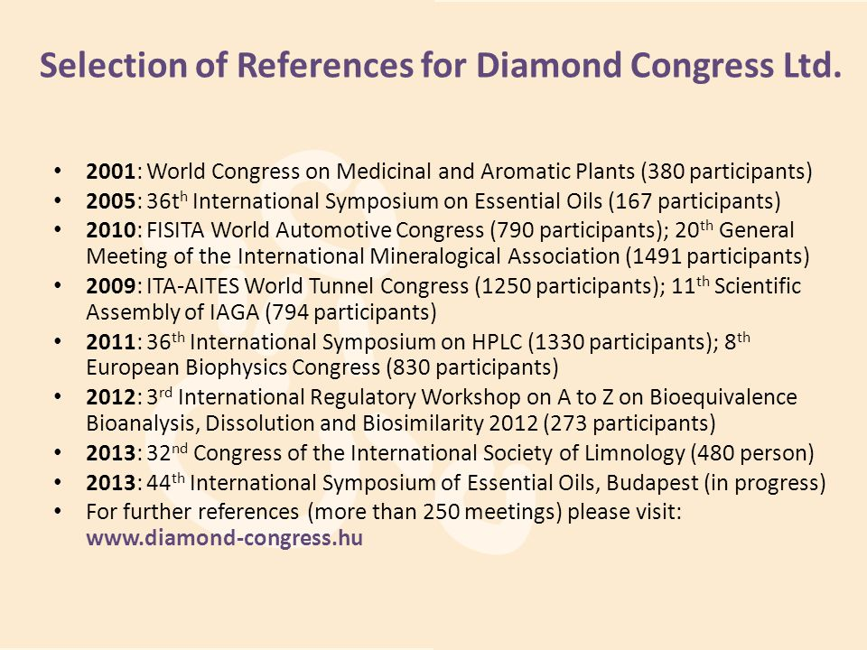 Selection of References for Diamond Congress Ltd.