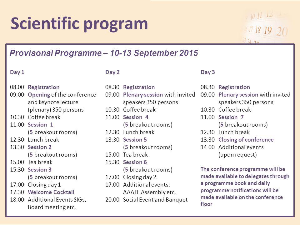 Scientific program Provisonal Programme – 10-13 September 2015 Day 1