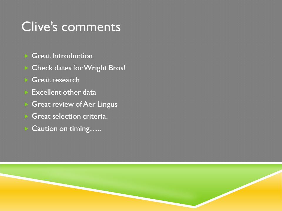 Clive's comments Great Introduction Check dates for Wright Bros!