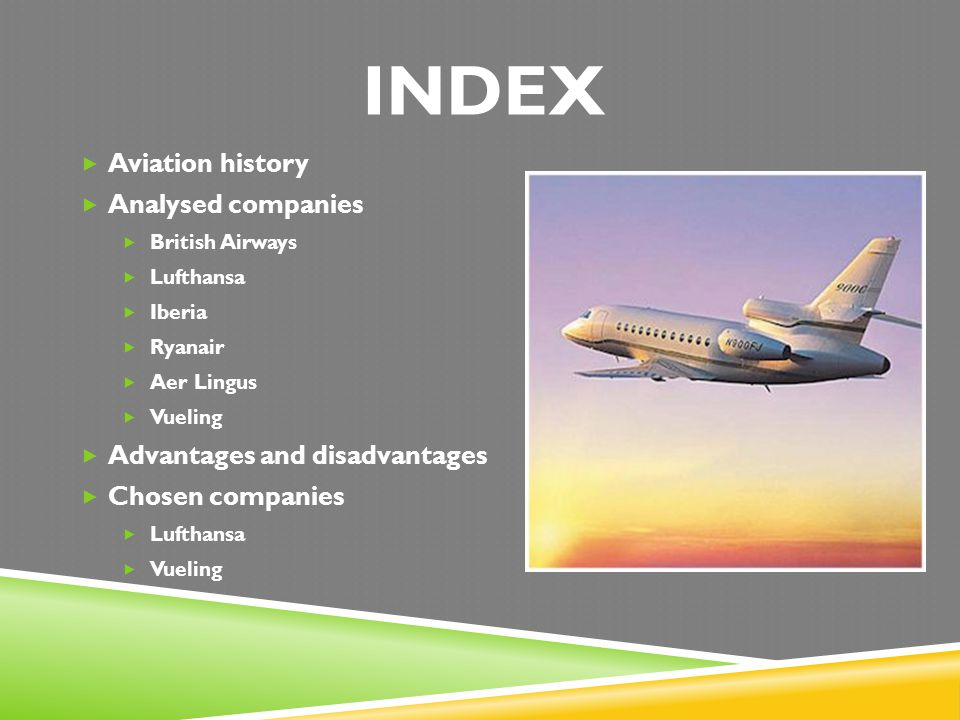 INDEX Aviation history Analysed companies Advantages and disadvantages