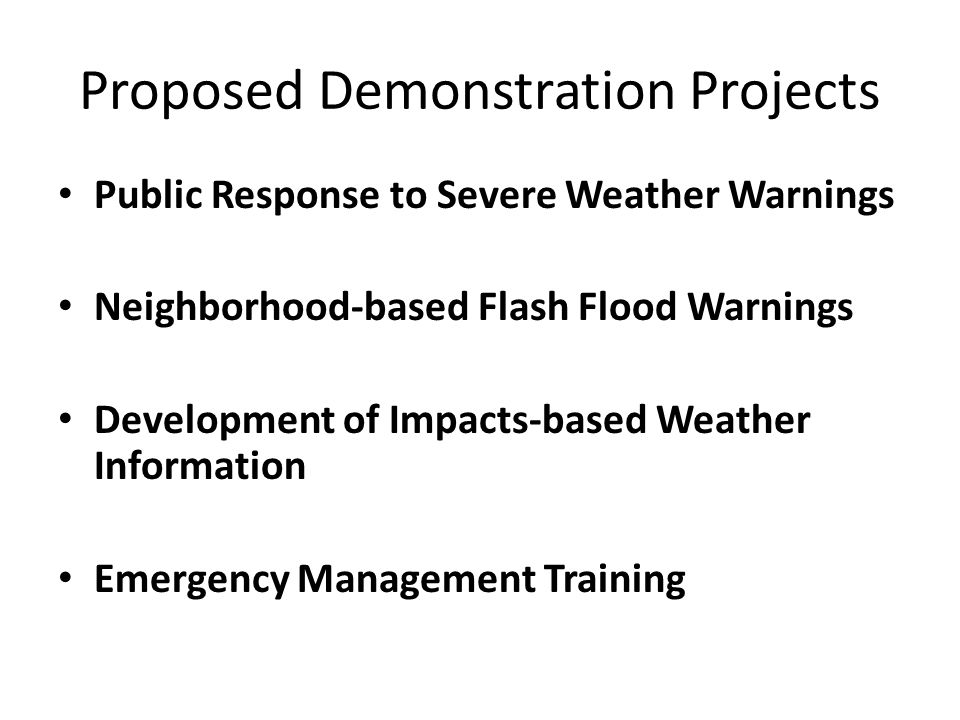 Proposed Demonstration Projects
