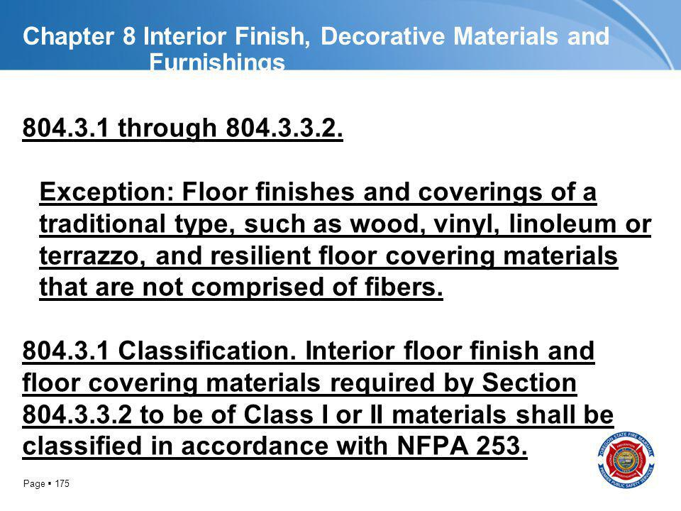 Chapter 8 Interior Finish, Decorative Materials and Furnishings