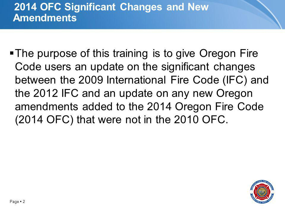 2014 OFC Significant Changes and New Amendments