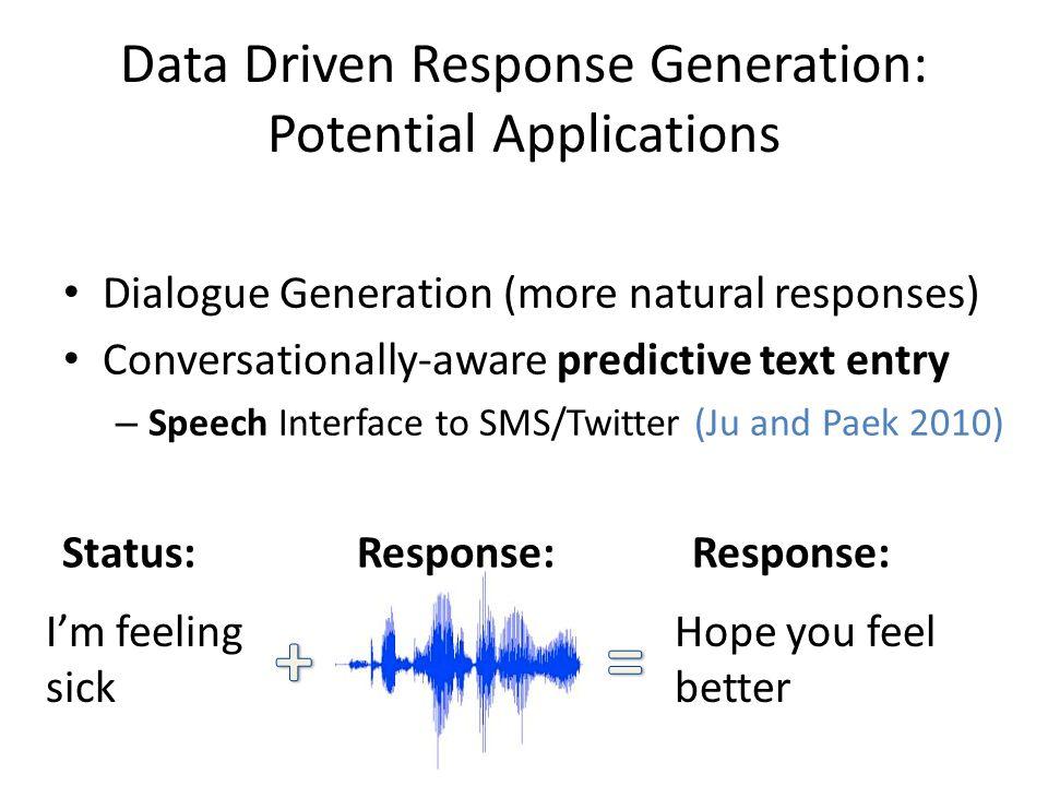 Data Driven Response Generation: Potential Applications