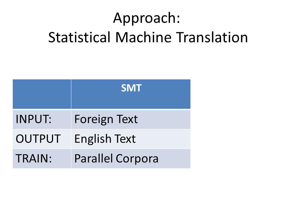 Approach: Statistical Machine Translation