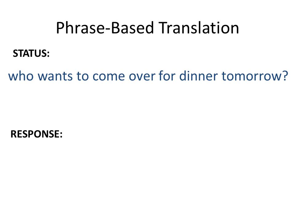 Phrase-Based Translation