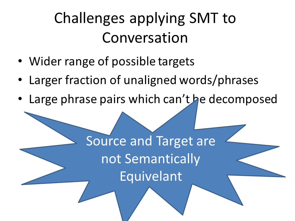 Challenges applying SMT to Conversation