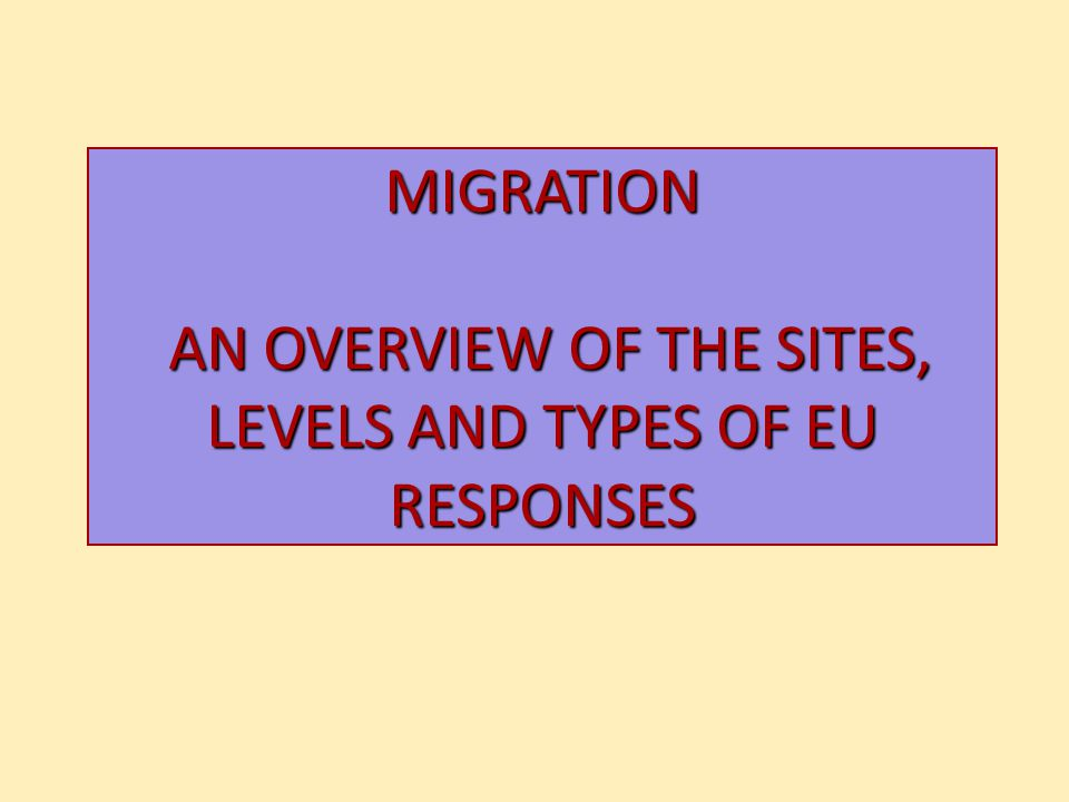 MIGRATION AN OVERVIEW OF THE SITES, LEVELS AND TYPES OF EU RESPONSES
