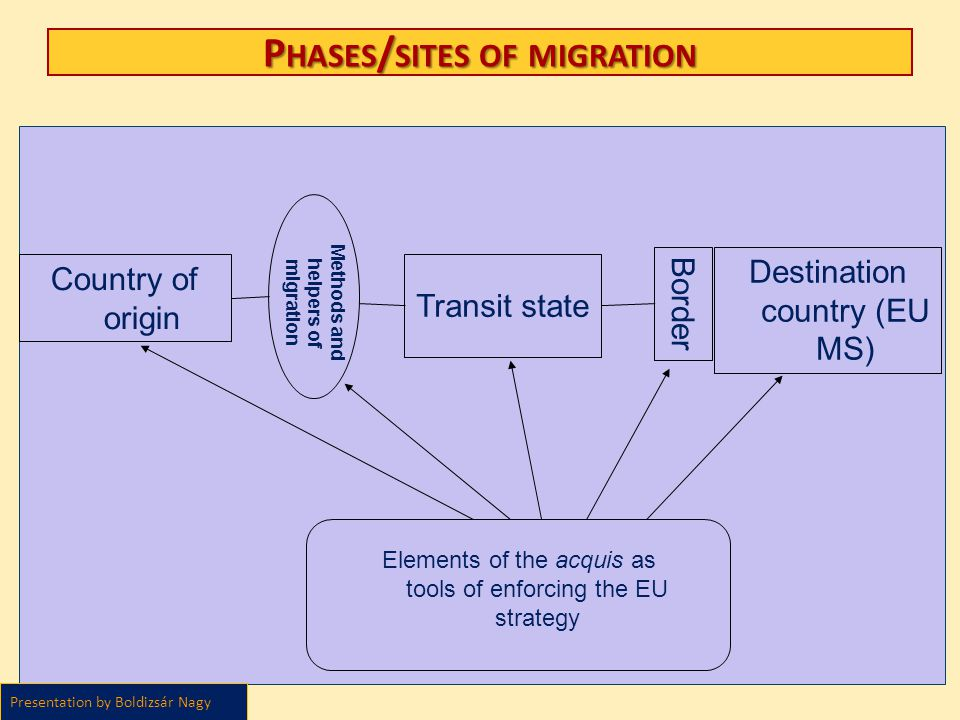 Phases/sites of migration