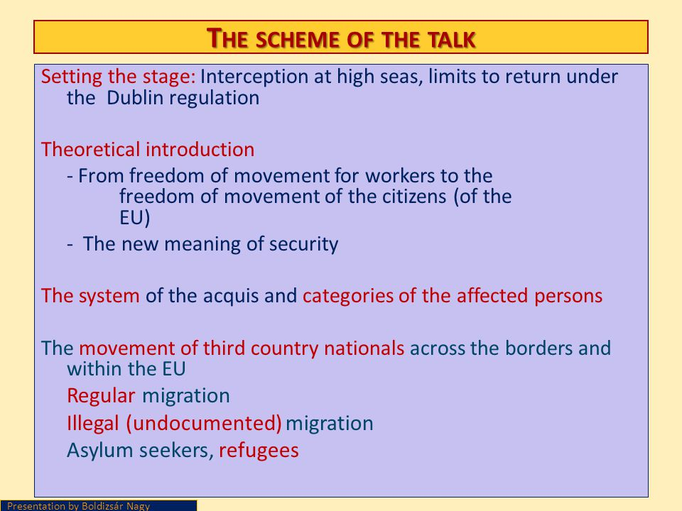The scheme of the talk Illegal (undocumented) migration