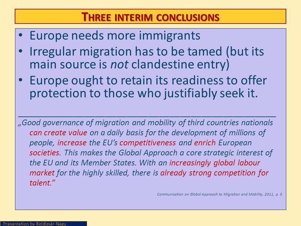 Three interim conclusions