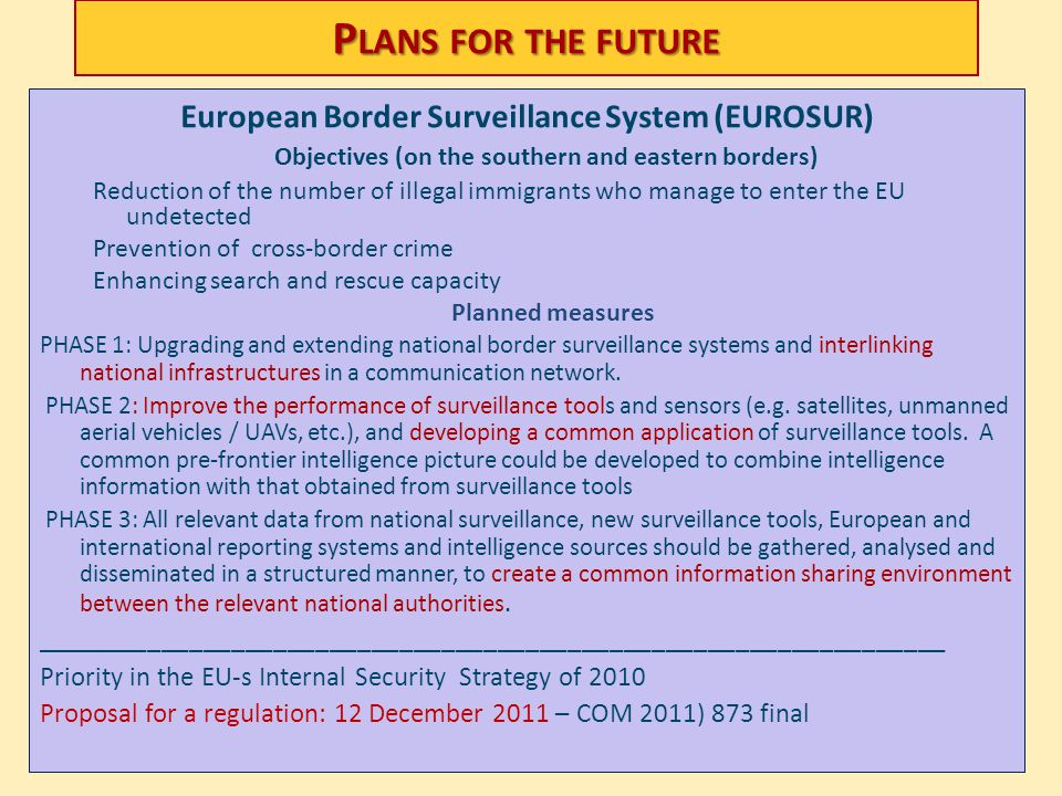 Plans for the future European Border Surveillance System (EUROSUR) Objectives (on the southern and eastern borders)