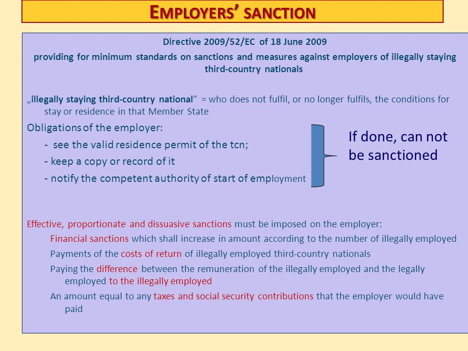 Employers' sanction If done, can not be sanctioned