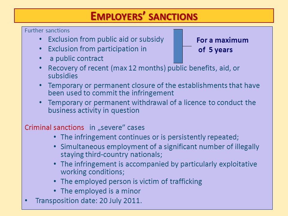 Employers' sanctions Exclusion from public aid or subsidy