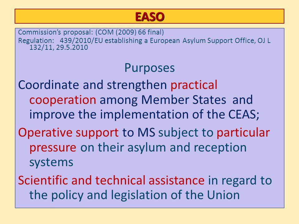 EASO Commission's proposal: (COM (2009) 66 final) Regulation: 439/2010/EU establishing a European Asylum Support Office, OJ L 132/11, 29.5.2010.