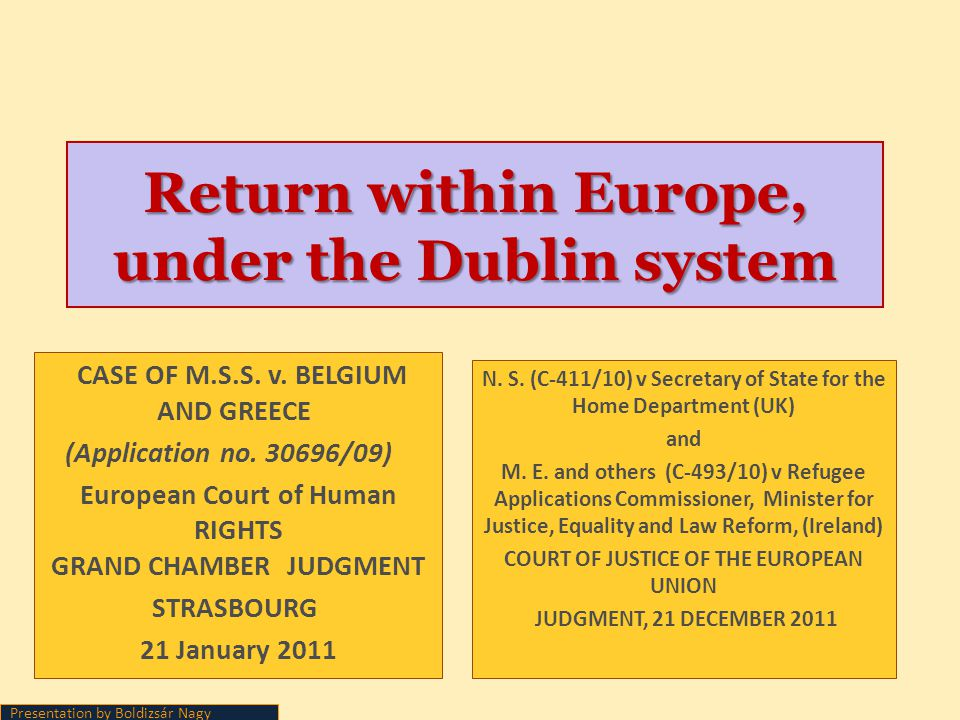 Return within Europe, under the Dublin system