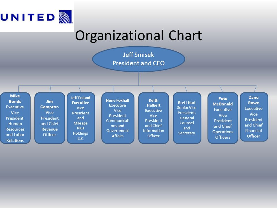 Organizational Chart Jeff Smisek President and CEO