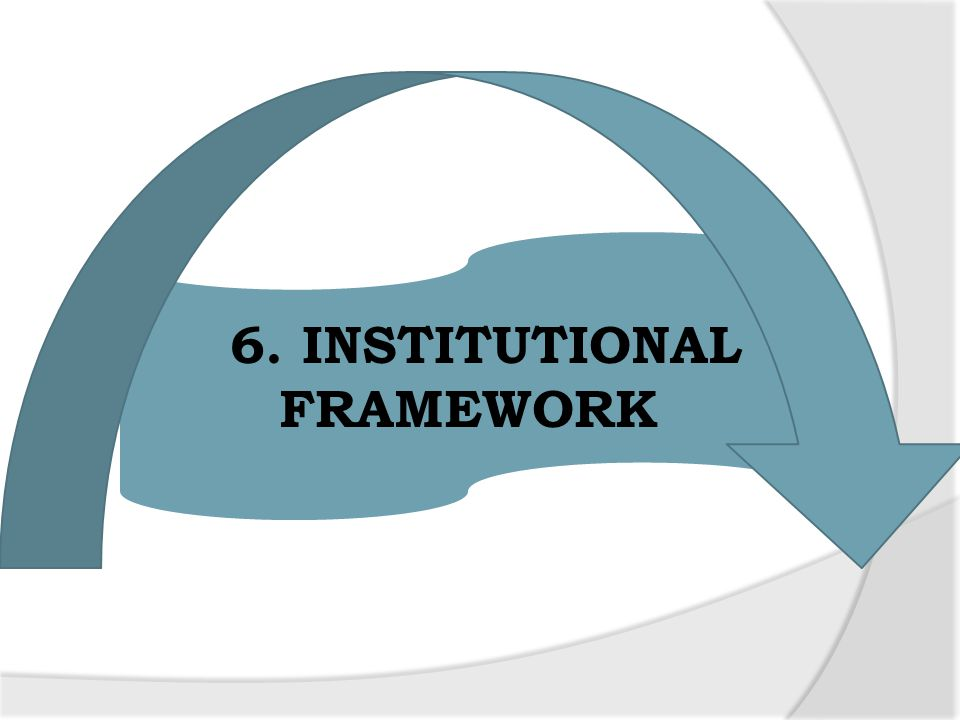 6. INSTITUTIONAL FRAMEWORK