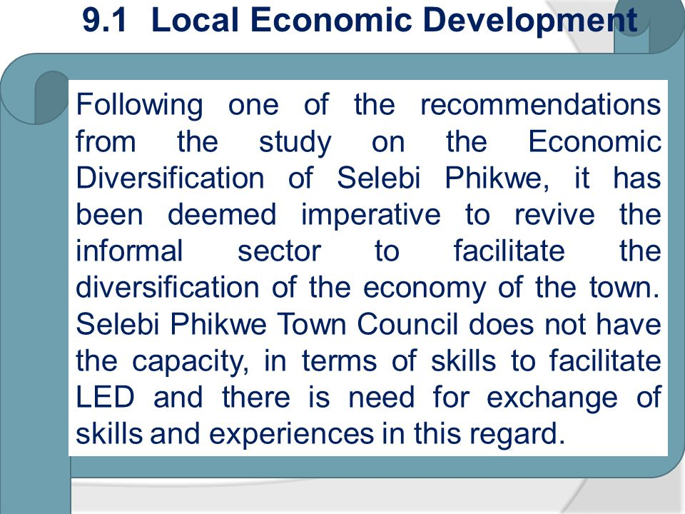 9.1 Local Economic Development