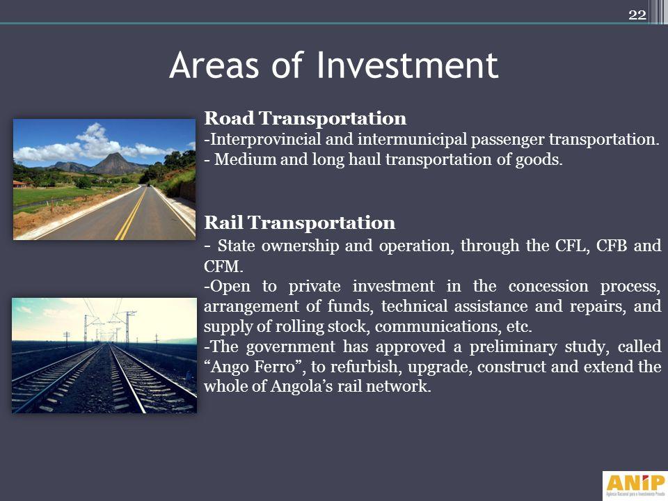Areas of Investment Road Transportation Rail Transportation