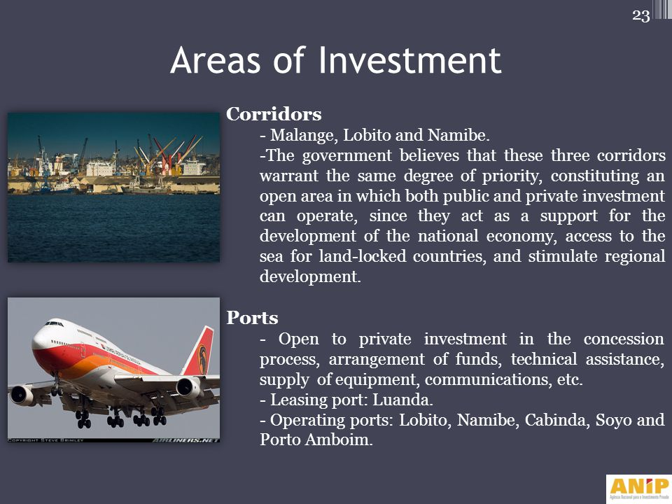Areas of Investment Corridors Ports - Malange, Lobito and Namibe.