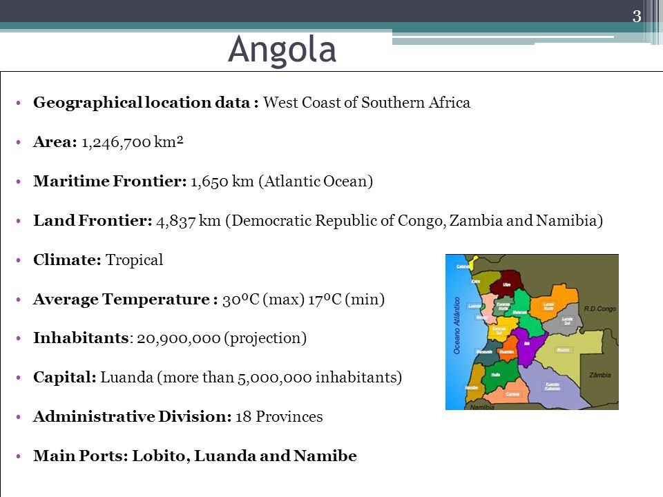 Angola Geographical location data : West Coast of Southern Africa