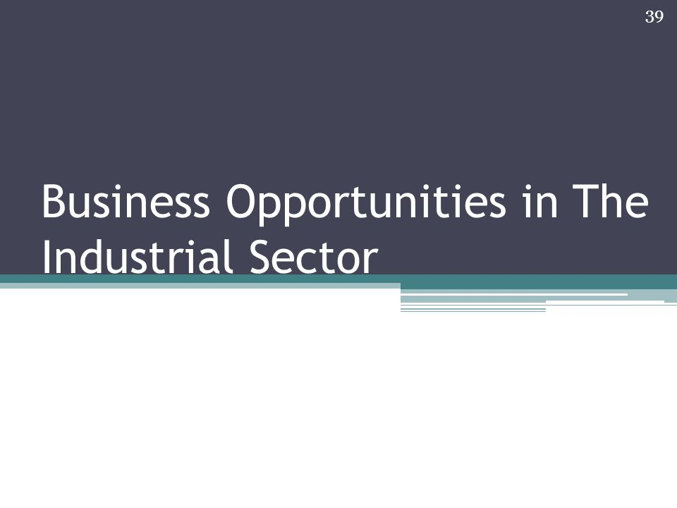 Business Opportunities in The Industrial Sector