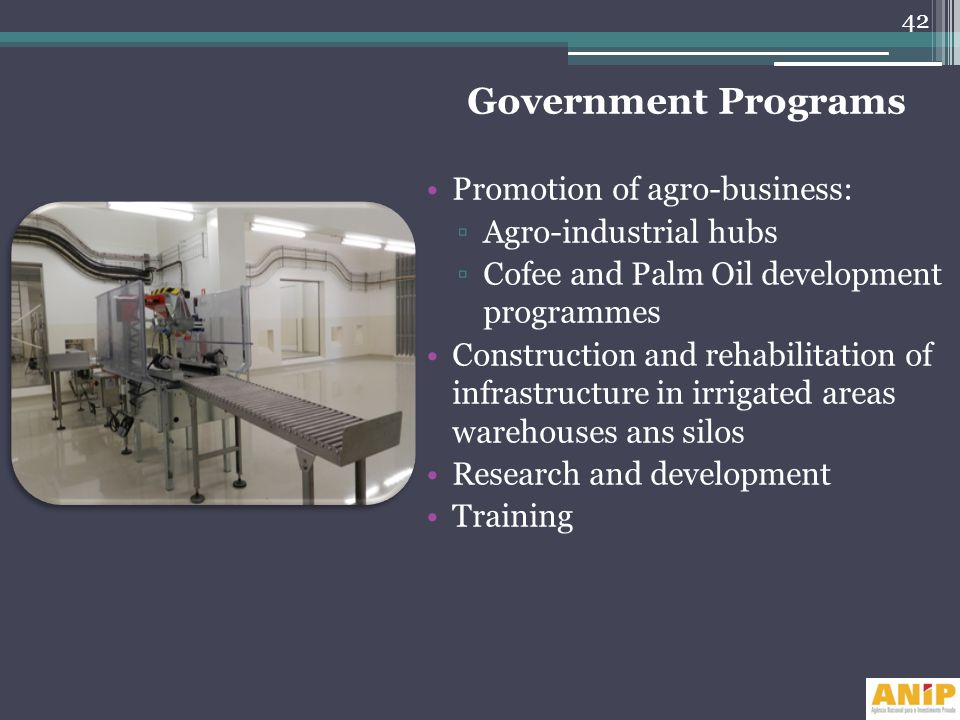 Government Programs Promotion of agro-business: Agro-industrial hubs
