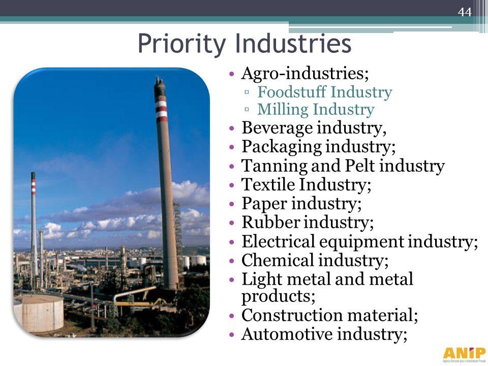 Priority Industries Agro-industries; Beverage industry,