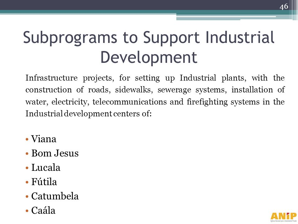 Subprograms to Support Industrial Development