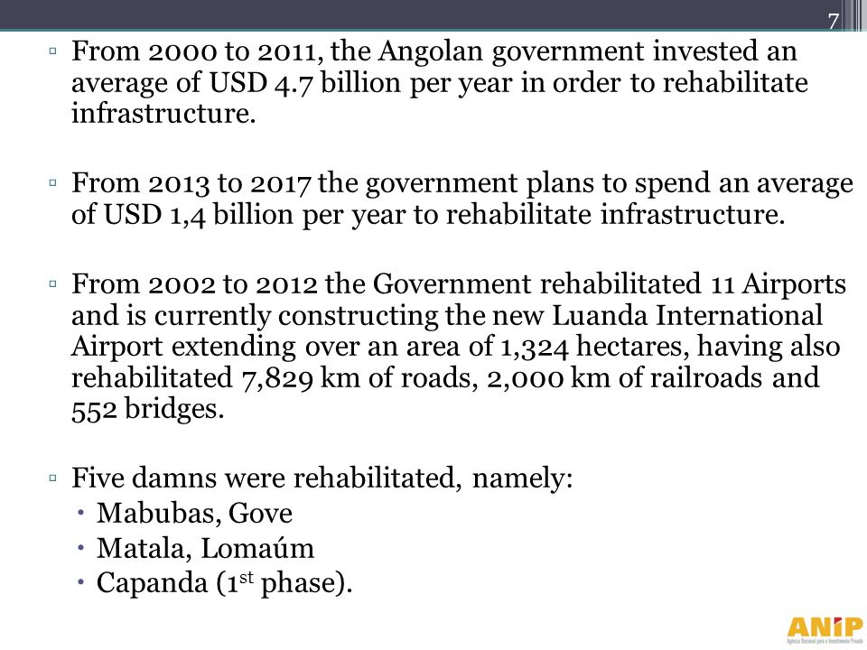 From 2000 to 2011, the Angolan government invested an average of USD 4