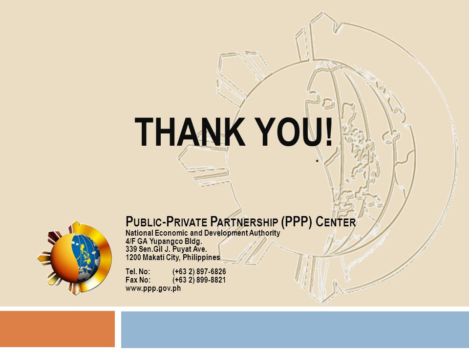THANK YOU! Public-Private Partnership (PPP) Center