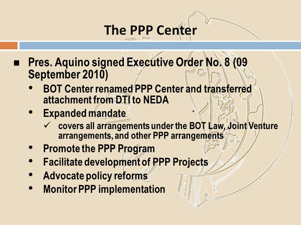 The PPP Center Pres. Aquino signed Executive Order No. 8 (09 September 2010)
