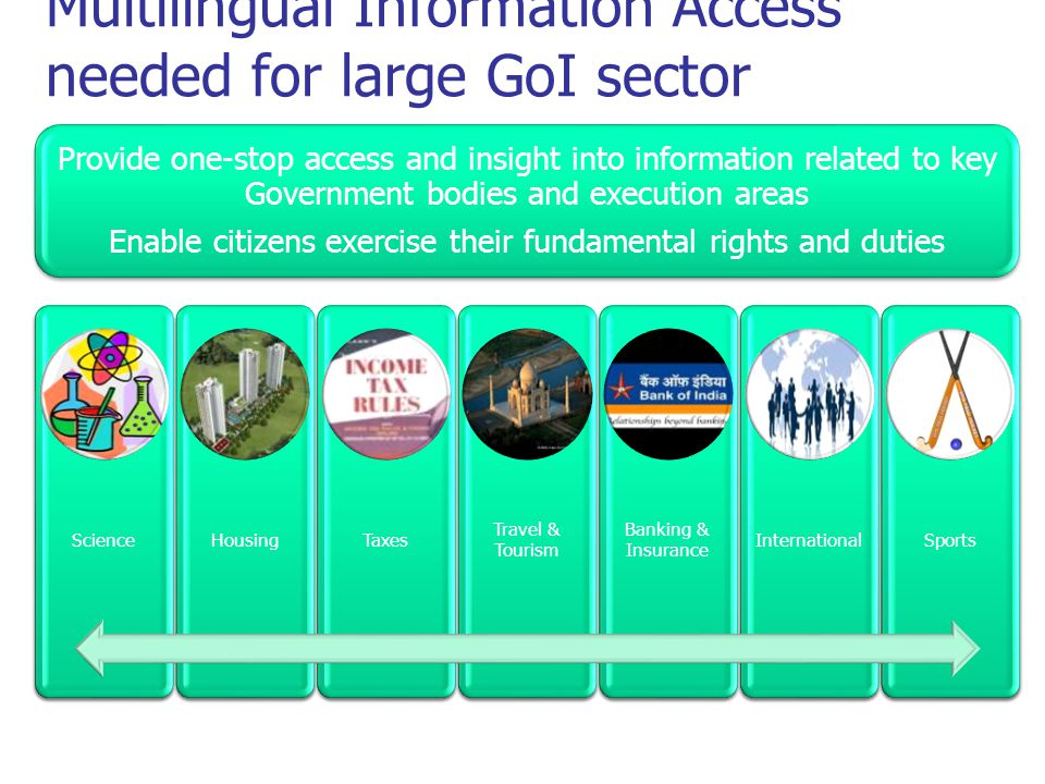 Multilingual Information Access needed for large GoI sector