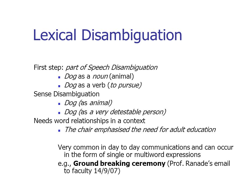 Lexical Disambiguation