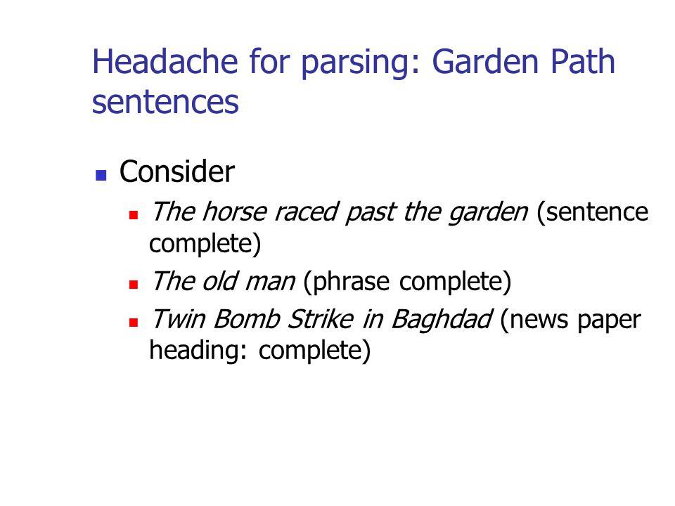 Headache for parsing: Garden Path sentences