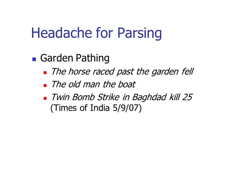 Headache for Parsing Garden Pathing