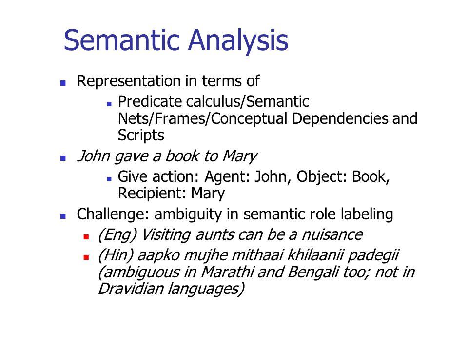 Semantic Analysis Representation in terms of