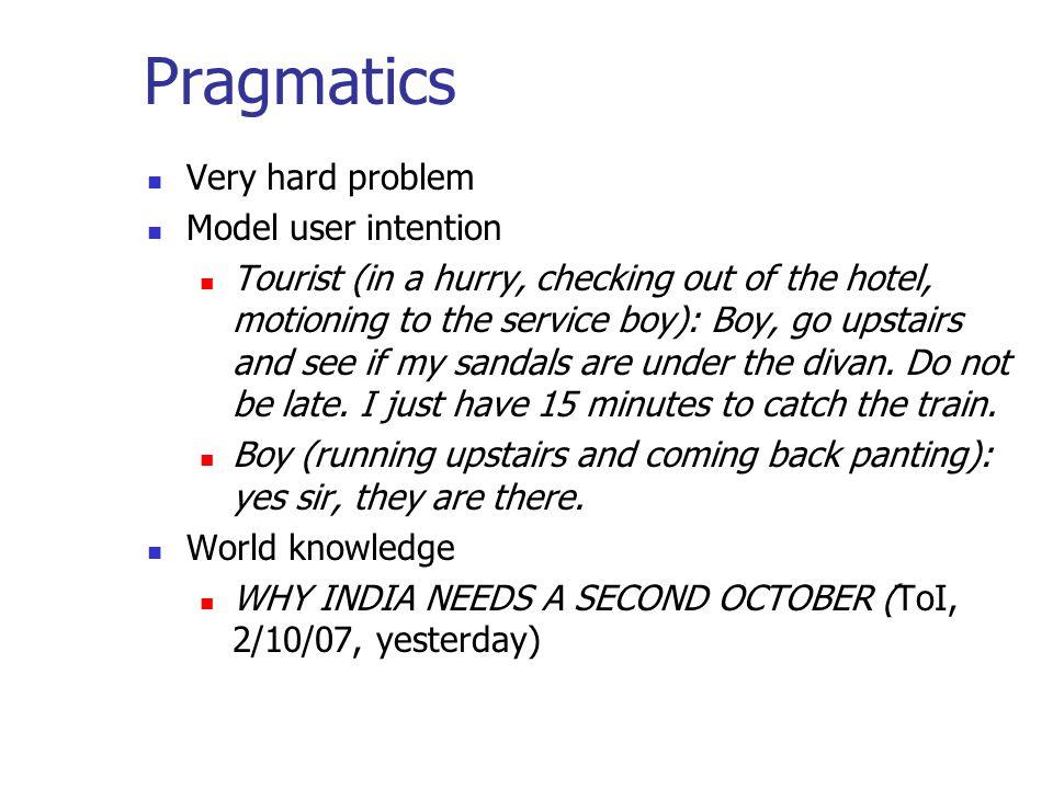 Pragmatics Very hard problem Model user intention