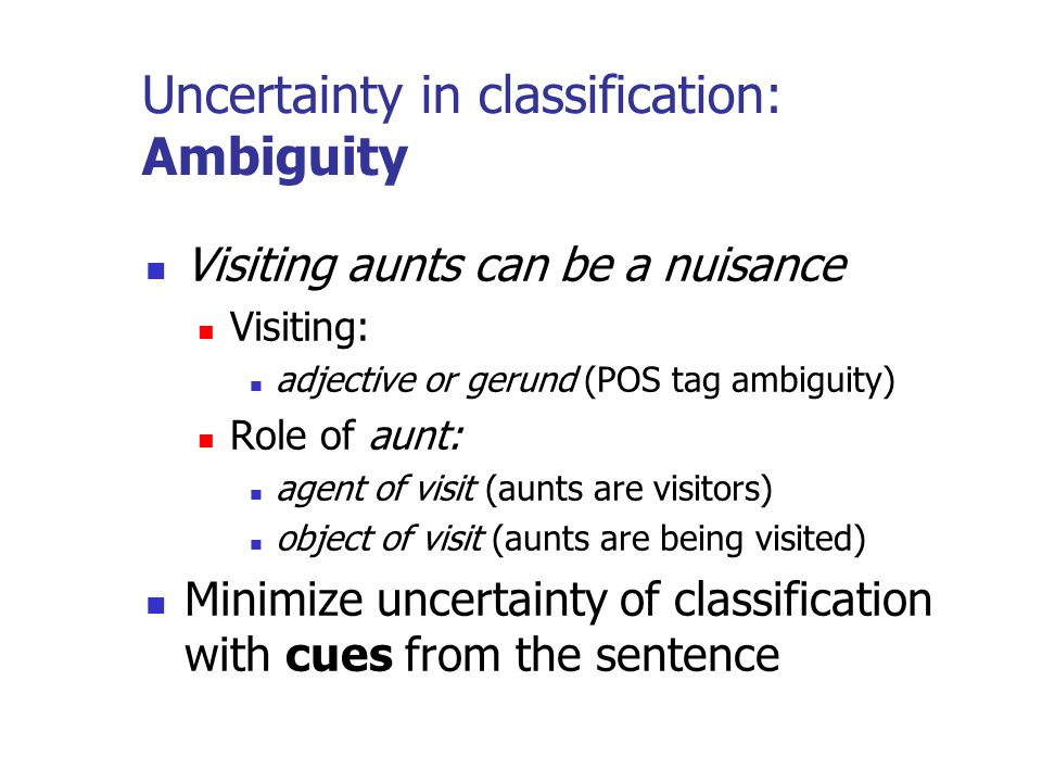 Uncertainty in classification: Ambiguity