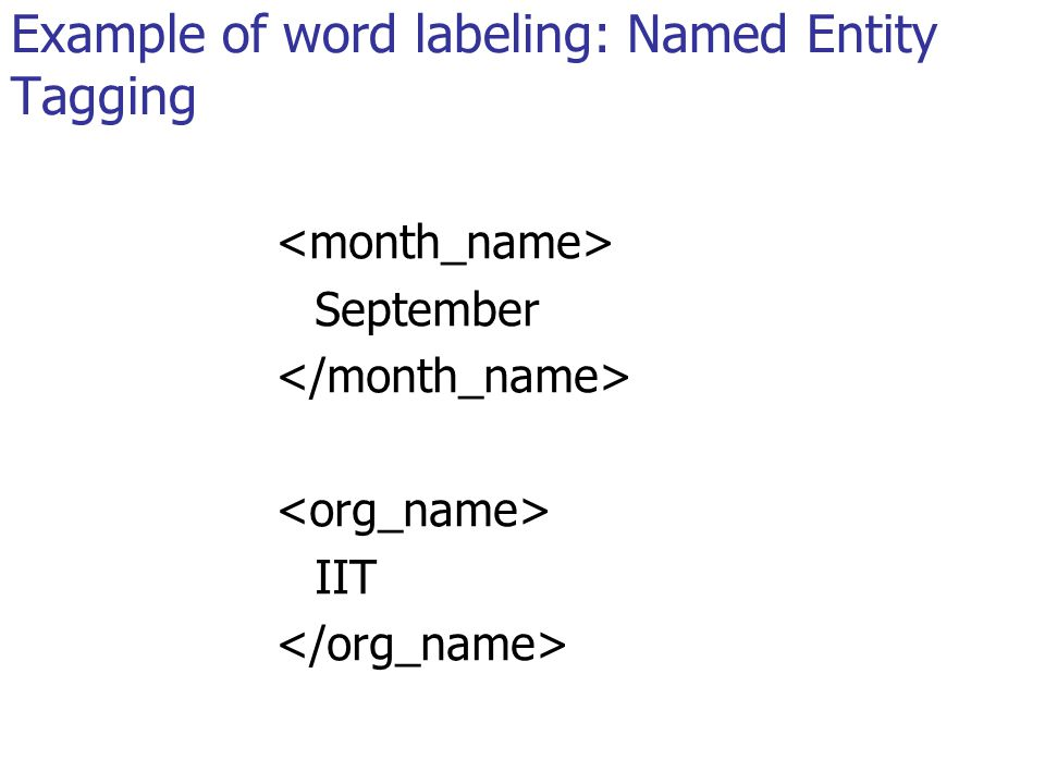 Example of word labeling: Named Entity Tagging