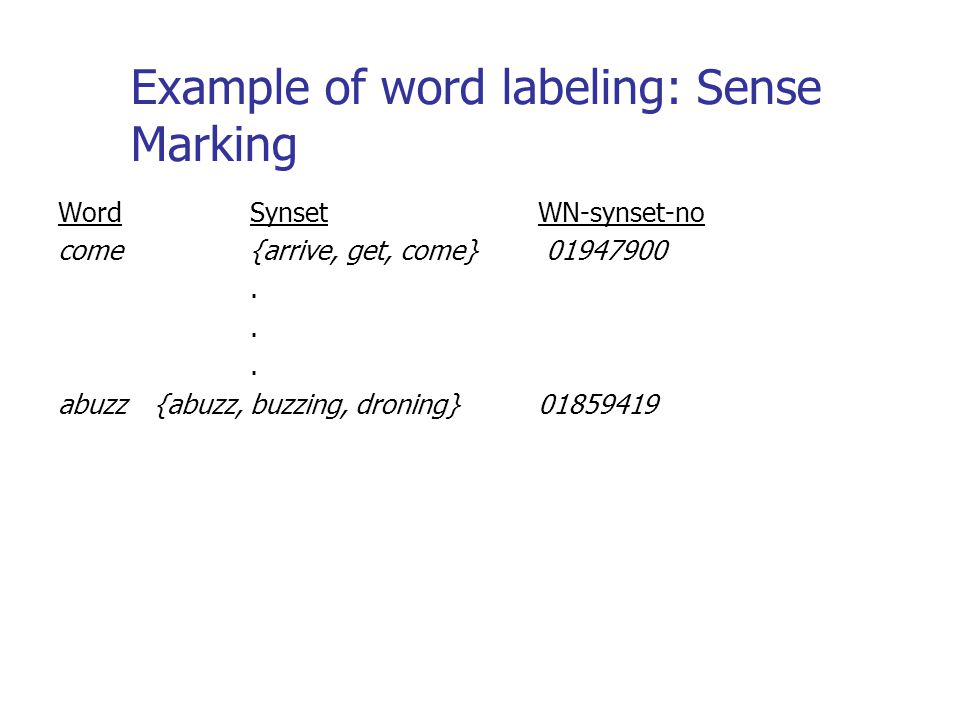 Example of word labeling: Sense Marking