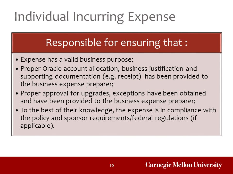 Individual Incurring Expense