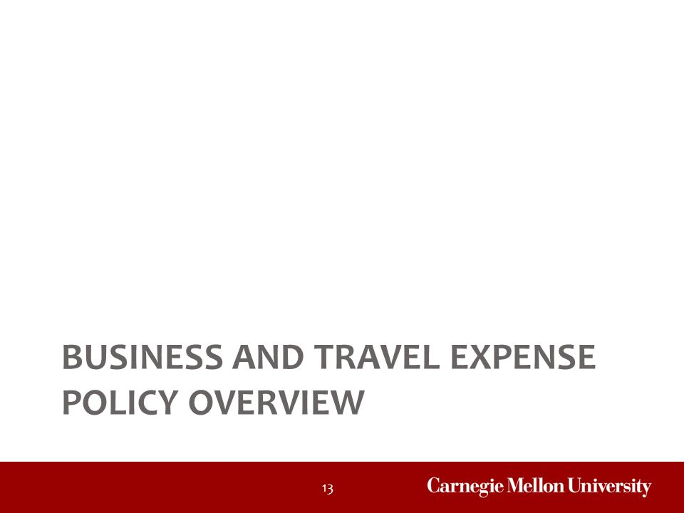 Business and Travel Expense Policy Overview