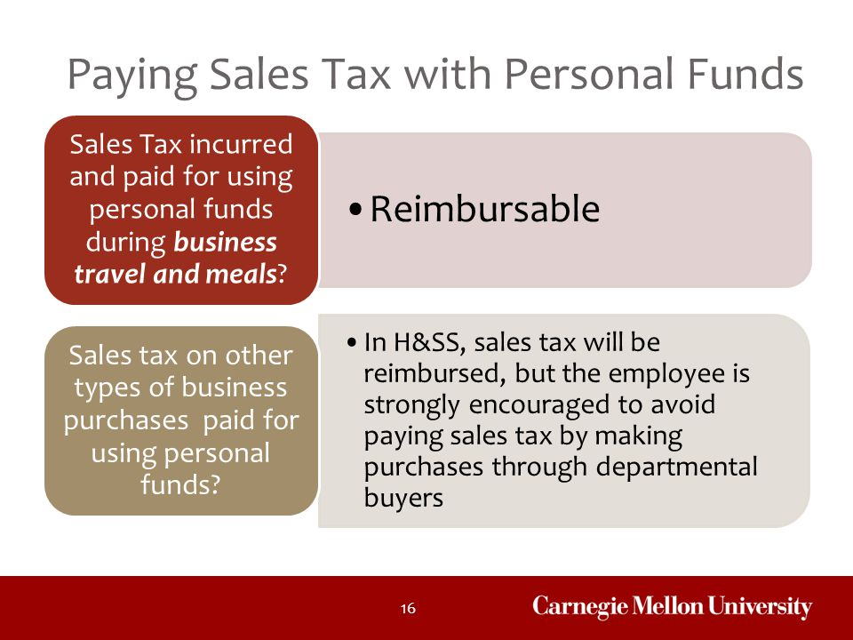 Paying Sales Tax with Personal Funds
