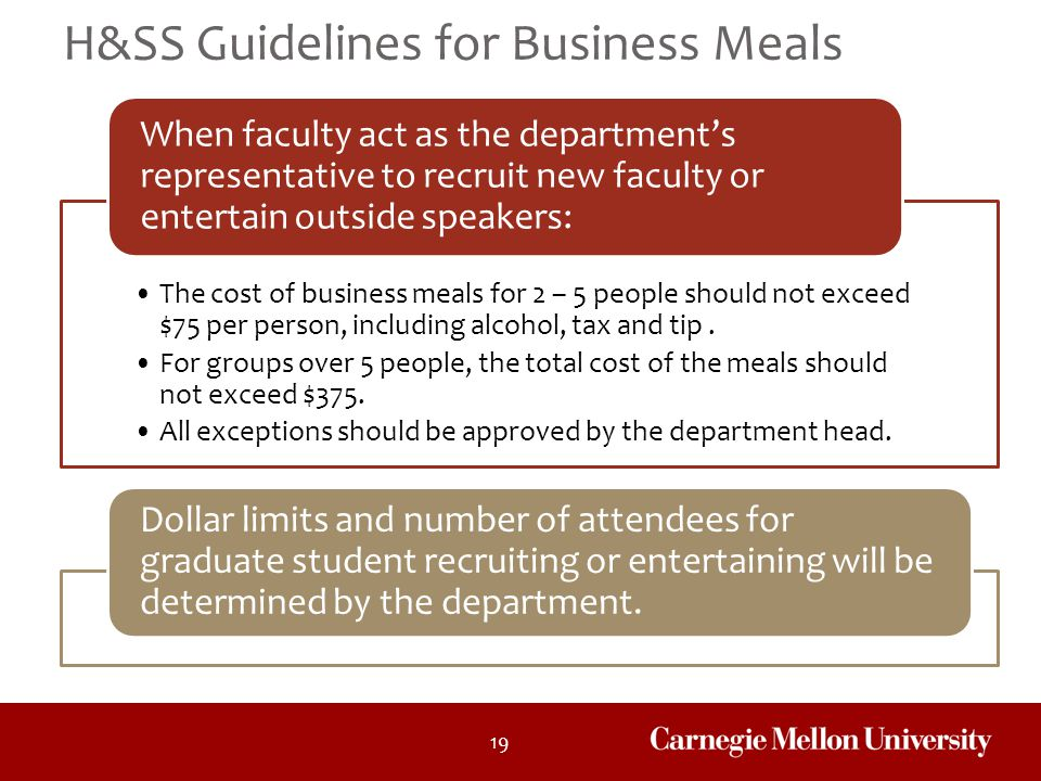 H&SS Guidelines for Business Meals